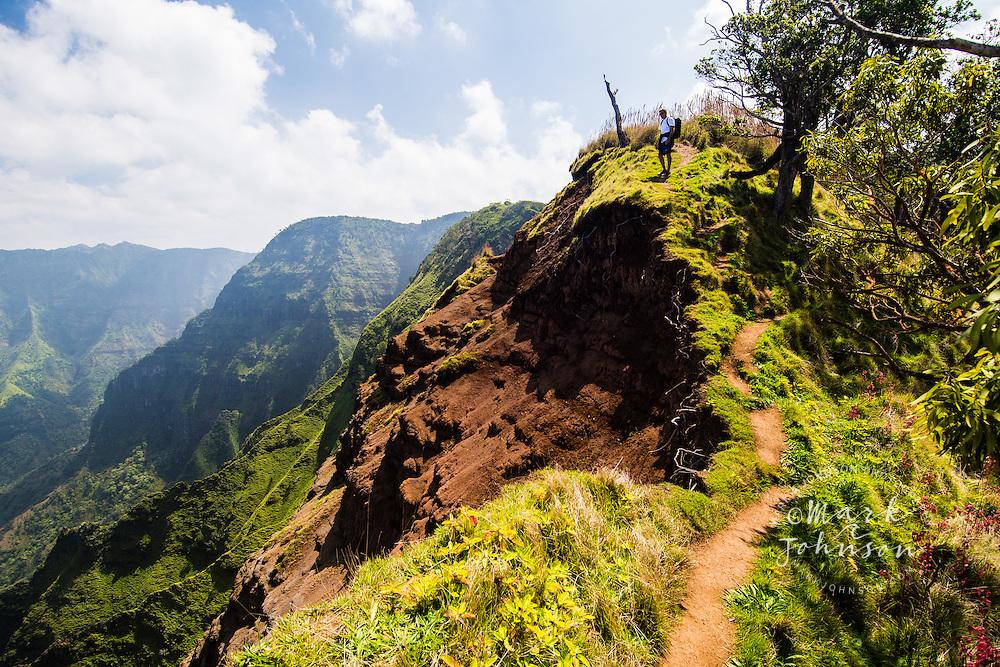Hiker above the Kalalau Valley on the Na Pali Coast, Kokee, Kauai, Hawaii