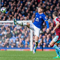 Everton midfielder Ross Barkley (8) at full stretch in the Premier League match between Everton and Burnley<br /> (c) John Baguley | SportPix.org.uk
