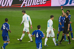 Bostjan Cesar of Slovenia sent off after getting second yellow card during football match between National teams of Slovenia and Cyprus in 3rd Round of Group E of FIFA World Cup 2014 Qualification on October 12, 2012 in Stadium Ljudski vrt, Maribor, Slovenia. (Photo by Matic Klansek Velej / Sportida)