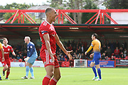 Accrington's Kayden Jackson celebrates his goal during the EFL Sky Bet League 2 match between Accrington Stanley and Mansfield Town at the Fraser Eagle Stadium, Accrington, England on 19 August 2017. Photo by John Potts.