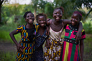 From left, Agnes Lebbie, 13 years old, Mariam Tucker, 12 years old, Adama Kargbo, Adama Tucker, 13 years and 13 years old in the village of Bambaya, Kono district, Sierra Leone on March 28, 2017.