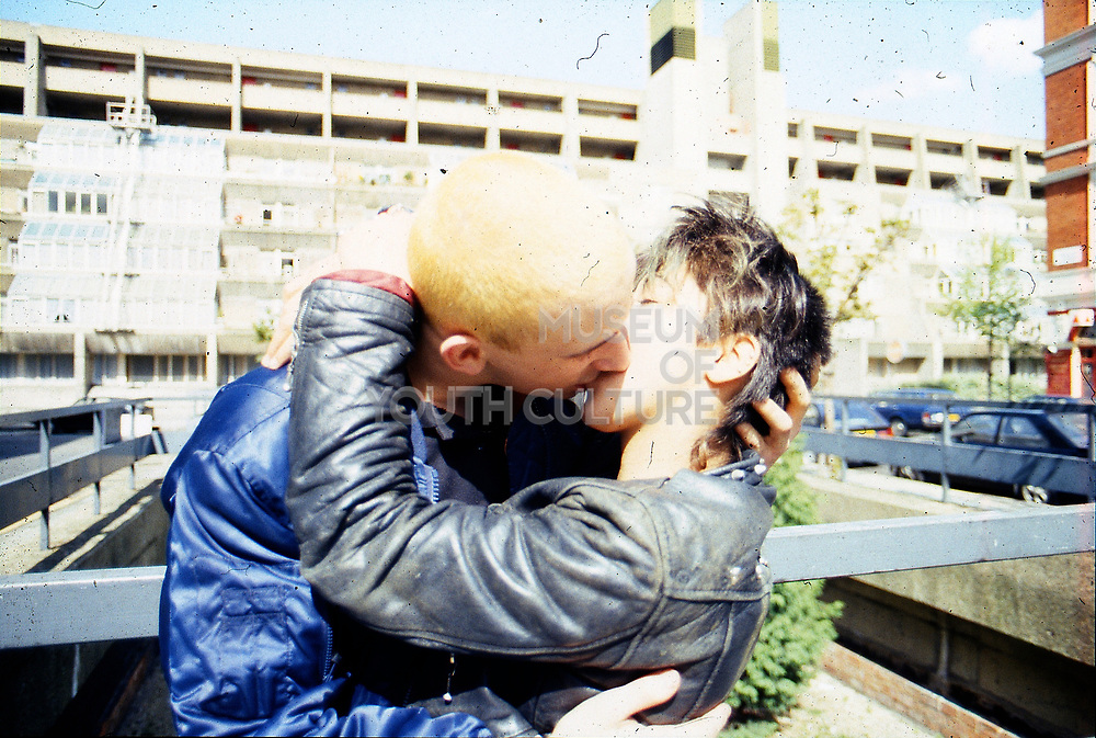 Gavin and Kelly kiss. Russel Square, UK, 1980s.