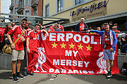 Liverpool fans with flag in city centre before the Europa League Final match between Liverpool and Sevilla at St Jakob-Park, Basel, Switzerland on 18 May 2016. Photo by Phil Duncan.