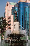 MEXICO, MEXICO CITY, CITYSCAPE Diana Fountain with the Marquis de la Ramblas Hotel beyond, located on Paseo de la Reforma