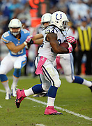 Indianapolis Colts running back Trent Richardson (34) runs the ball in the first quarter during the NFL week 6 football game against the San Diego Chargers on Monday, Oct. 14, 2013 in San Diego. The Chargers won the game 19-9. ©Paul Anthony Spinelli