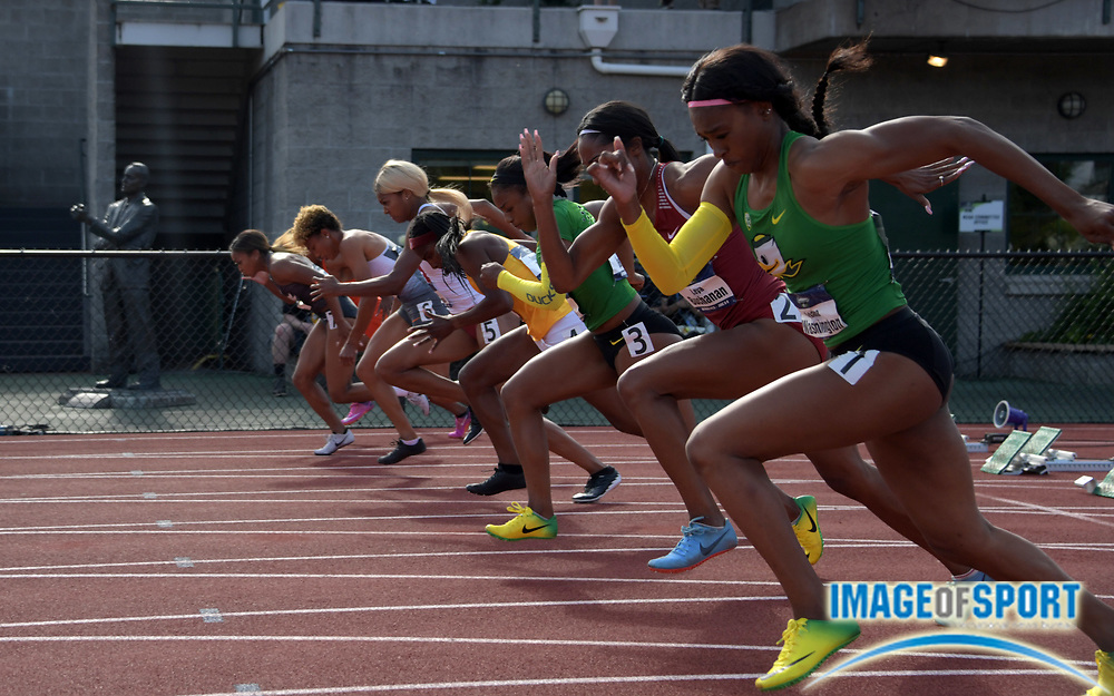 Jun 7, 2018; Eugene, OR, USA; Sprinters in the starting blocks of a women's 100m heat during the NCAA Track and Field championships at Hayward Field. From right: Ariana Washington (Oregon), Leya Buchanan (Oklahoma), Jasmin Reed (Oregon), Twanisha Terry (Southern California), Gabrielle Thomas (Harvard), Shania Collins (Tennessee), Celera Barnes (Kentucky) and Rebekah Smith (Clemson).