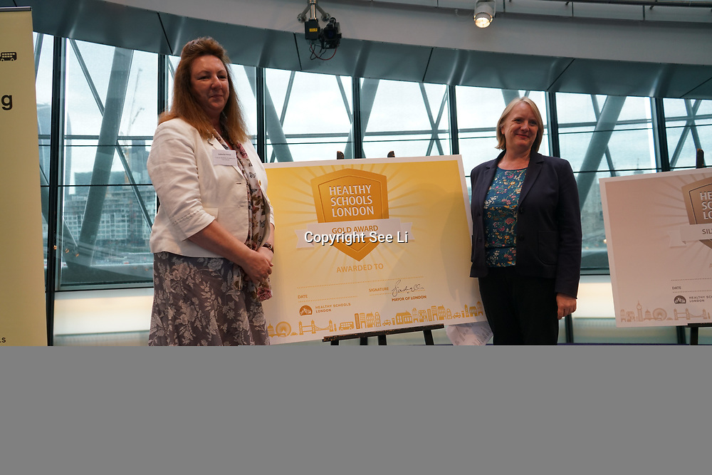 "City Hall, London, Uk, 29th June 2017. Upminster Infant, Frances Bardsley Academy for Girls, Redden Court School ""Gold Awards"" of the City Hall awards at the Health and education experts celebrate London's healthiest schools."