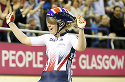 Great Britain's Emily Kay celebrates winning the Women's Omnium during day three of the UCI Track Cycling World Cup at the Sir Chris Hoy Velodrome, Glasgow.