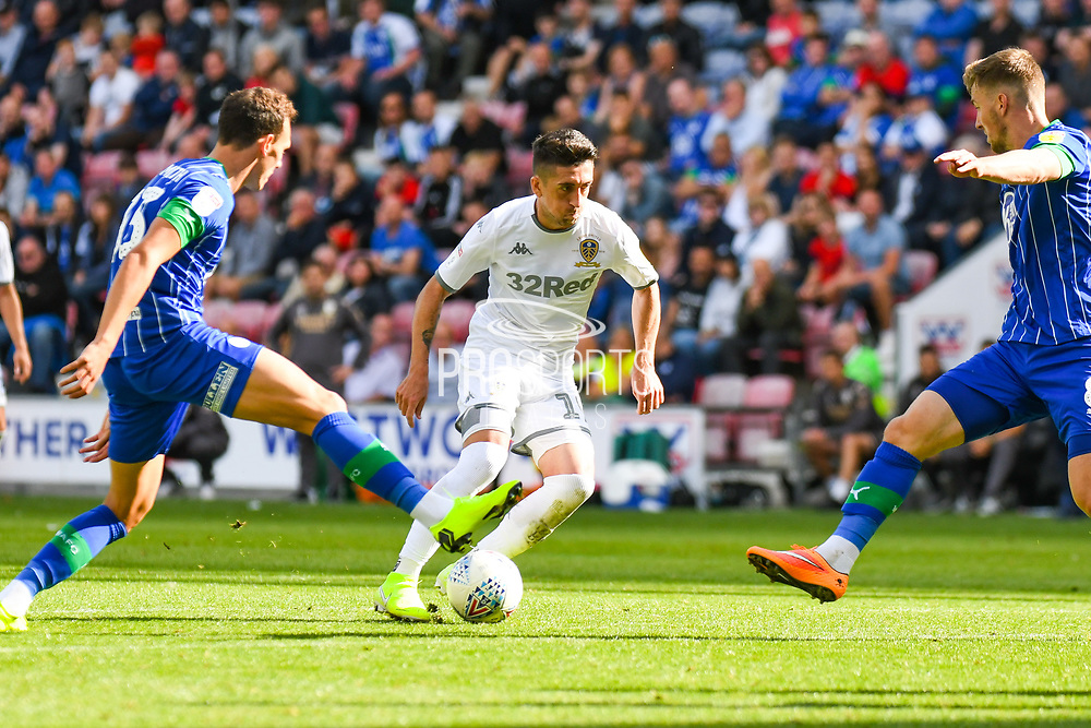 Leeds United midfielder Pablo Hernandez (19) in action during the EFL Sky Bet Championship match between Wigan Athletic and Leeds United at the DW Stadium, Wigan, England on 17 August 2019.