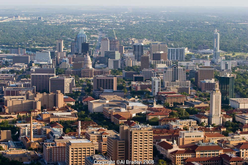 University of Texas campus foreground, Texas Capitol and downtown behind.