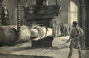 Pressing a propeller, iron and steel works, Sheffield, England, in presence of Shah of Persia, 1889.