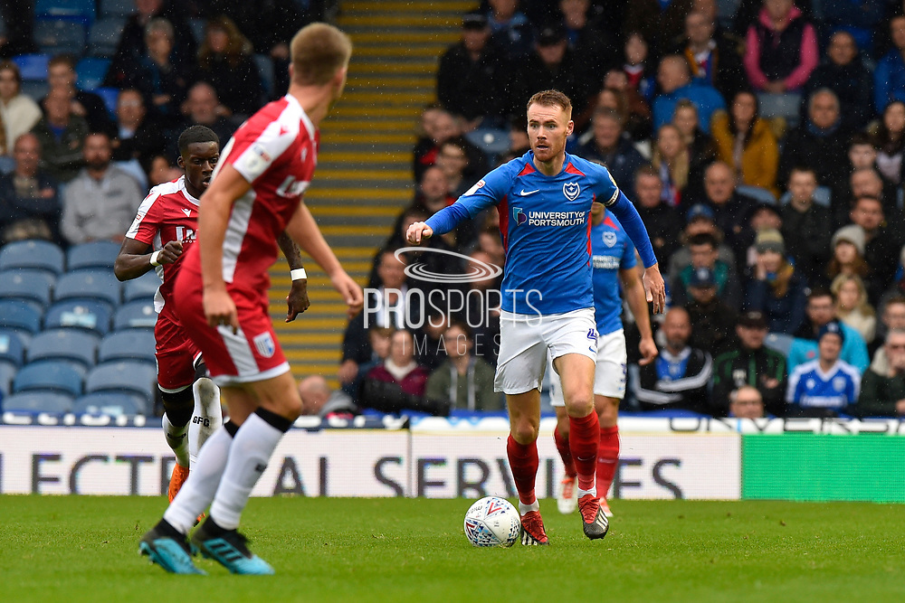 Tom Naylor (4) of Portsmouth on the attack during the EFL Sky Bet League 1 match between Portsmouth and Gillingham at Fratton Park, Portsmouth, England on 12 October 2019.
