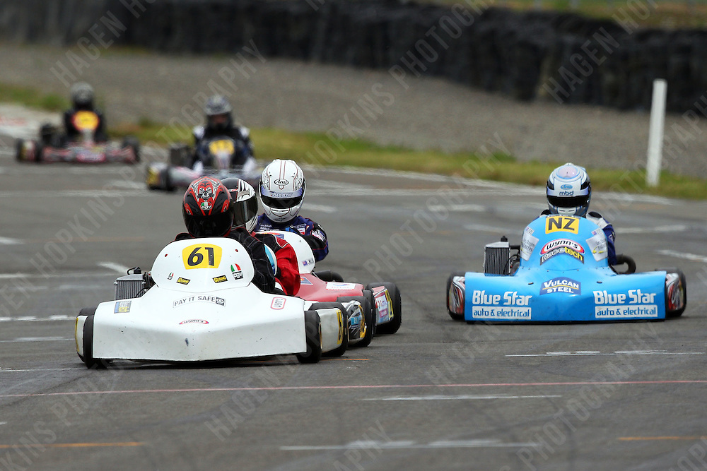 Derek Lawrence, 61, and Gareth Playle, NZ, races in the Rotax Light class during the 2012 Superkart National Champs and Grand Prix at Manfeild in Feilding, New Zealand on Saturday, 7 January 2011. Credit: Hagen Hopkins.