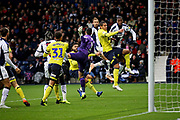 This header from West Bromwich Albion defender Tosin Adarabioyo (24)  went just wide during the EFL Sky Bet Championship match between West Bromwich Albion and Blackburn Rovers at The Hawthorns, West Bromwich, England on 27 October 2018.