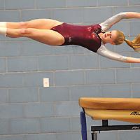 Westford Gymnast Danielle Craig on the vault.  The Sun photo by Tory Germann