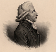 Emmanuel Joseph, Comte de Sieyes (1748-1836), Abbe Sieyes, French Revolutionary leader and churchman. Plotted the revolution of 18 Brumaire (9 November 1799) with Napoleon Bonaparte, and with Napoleon and Ducot formed the Consulate. Engraving.