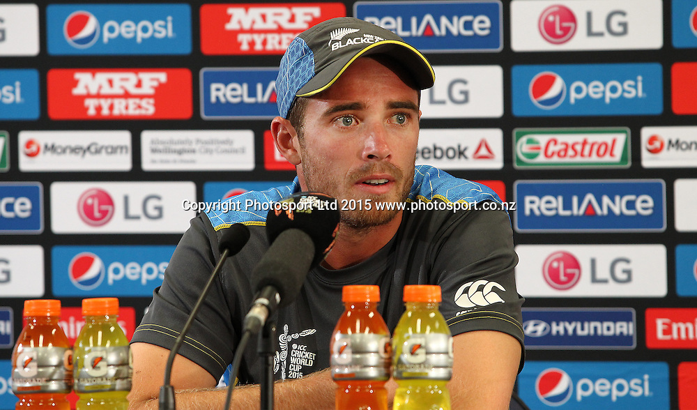 Tim Southee. Post match press confrence during the ICC Cricket World Cup match between New Zealand and England at Wellington Regional Stadium, New Zealand. Friday 20th February 2015. Photo.: Grant Down / www.photosport.co.nz