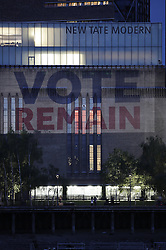 © Licensed to London News Pictures. 21/06/2016. London, UK.  A projection from the 'Britain Stronger In Europe' campaign is illuminated on The Tate Modern building. Photo credit: Peter Macdiarmid/LNP
