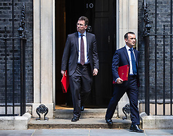 © Licensed to London News Pictures. 21/05/2019. London, UK. Secretary of State for Culture, Media and Sport Jeremy Wright QC (L) and Secretary of State for Wales Alun Cairns (R) leave 10 Downing Street after the Cabinet meeting. Prime Minister Theresa May is expected to make a statement to Paliament outlining changes to the Withdrawal Agreement Bill before it is brought back before Parliament. Photo credit: Rob Pinney/LNP