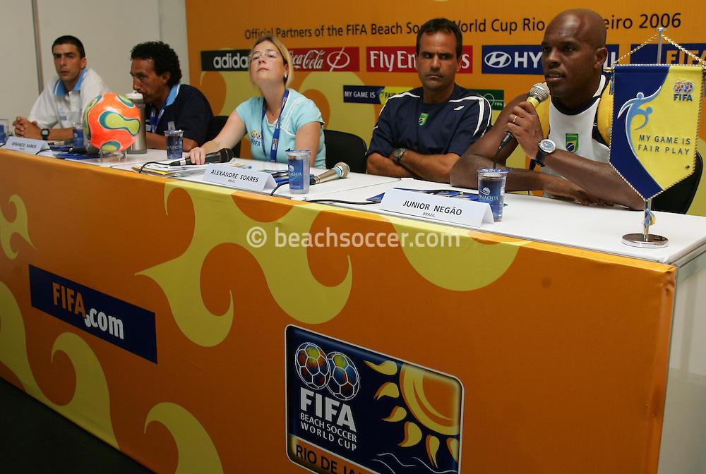 Football-FIFA Beach Soccer World Cup 2006 - Press Conference before the Final match , Beachsoccer World Cup 2006. Rio de Janeiro - Brazil 11/11/2006. Mandatory credit: FIFA/ Manuel Queimadelos