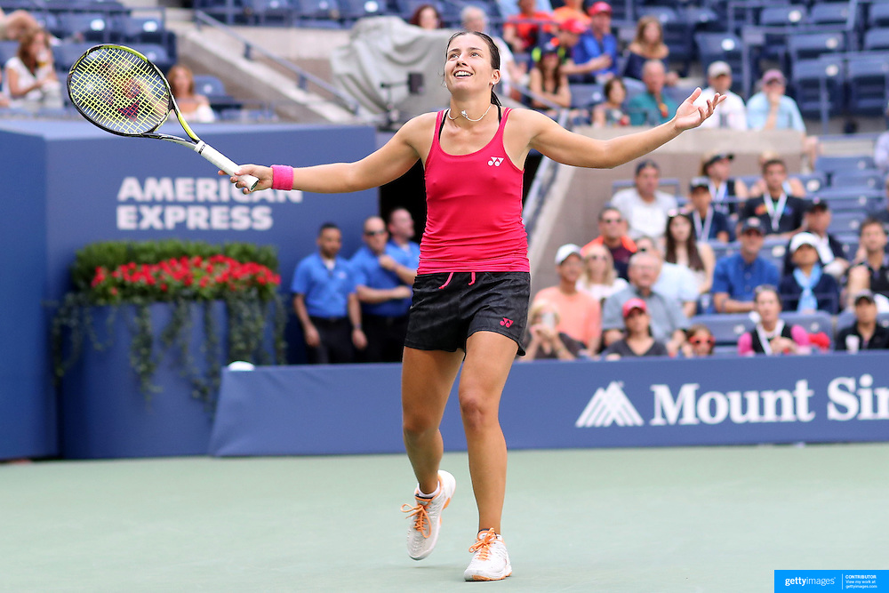 2016 U.S. Open - Day 7  Anastasija Sevastova of Latvia reacts to her win against Johanna Konta of Great Britain in the Women's Singles round four match on Arthur Ashe Stadium on day six of the 2016 US Open Tennis Tournament at the USTA Billie Jean King National Tennis Center on September 4, 2016 in Flushing, Queens, New York City.  (Photo by Tim Clayton/Corbis via Getty Images)