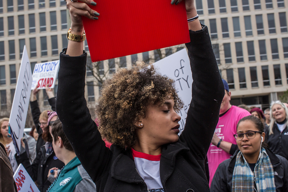 Keyla Ynoa, a student at Franklin and Marshall College, participants in the Women's March on Washington on Saturday, January 21, 2017 in Washington, DC.