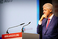 Former US President Bill Clinton speaks on the last day of the international aids conference AIDS 2018, Amsterdam 27 July 2018. Thousands of experts, scientists, politicians, policy makers and activists gathered for the conference on hiv and aids.<br /> 27 Jul 2018 copyright robin utrecht