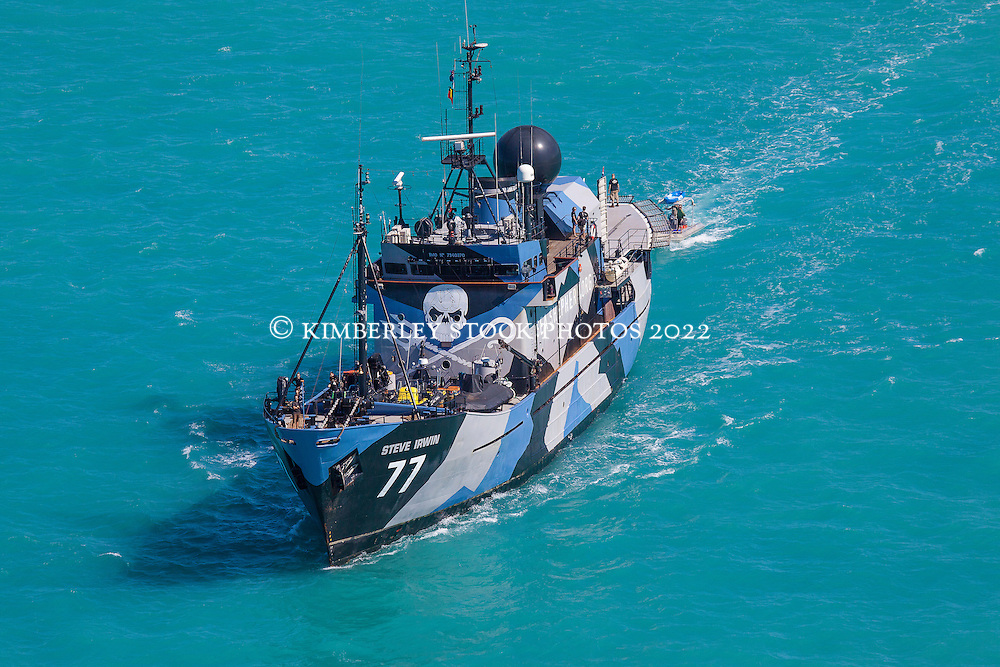 Sea Shepherd's Steve Irwin steams towards Gantheume Point as ex senator Bob Brown holds a press conference to lauch Operation Miinimbi.  Sea Shepherd are visiting Kimberley waters to raise awareness of the world's biggest humpback whale nursery in Kimberley waters.