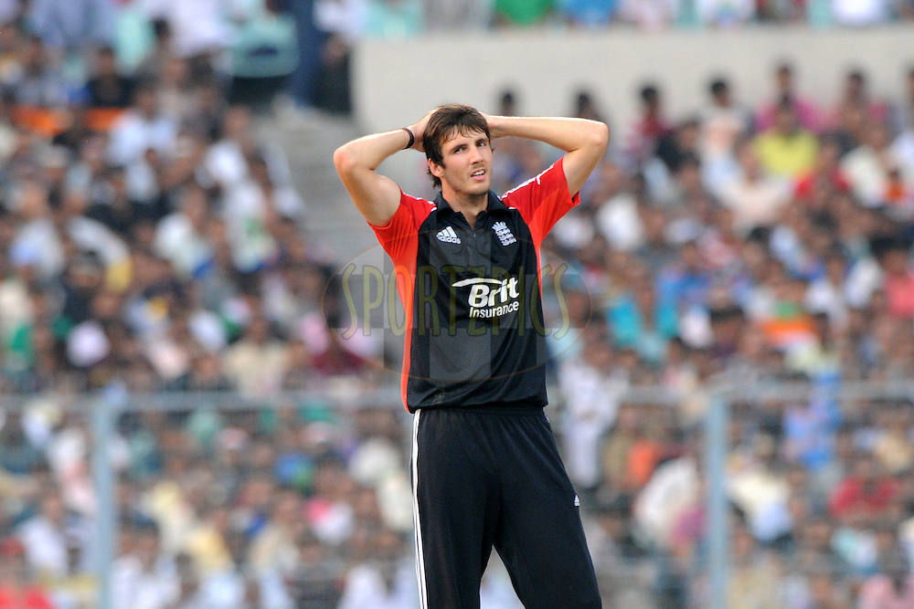 Steven Finn of England reacts during the 5th One Day International ( ODI ) match between India and England held at the Eden Gardens Stadium, Kolkata on the 23rd October 2011..Photo by Pal Pillai/BCCI/SPORTZPICS.
