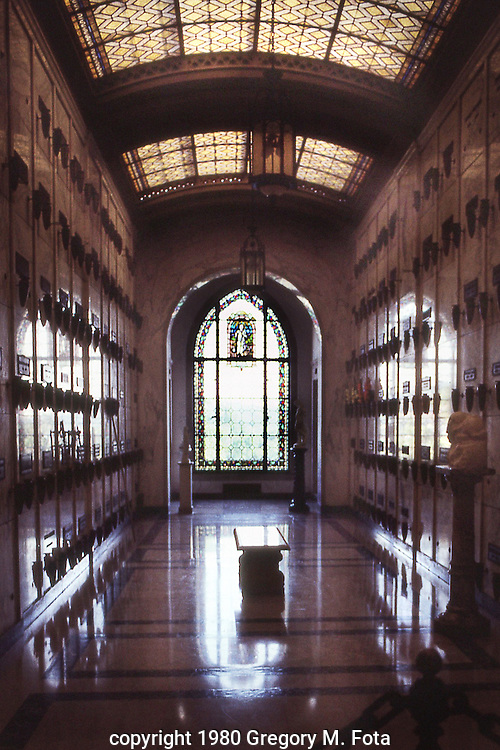 FOREST LAWN - burial vault room interior view. Forest Lawn,CA 11151980