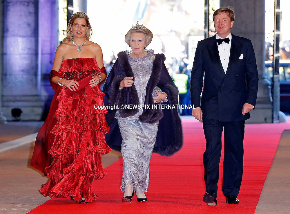 "QUEEN BEATRIX, CROWN PRINCE WILLEM-ALEXANDER AND CROWN PRINCESS MAXIMA.attend the gala farewell dinner for Queen Beatrix at the Rijksmuseum in Amsterdam, The Netherlands_April 29, 2013..Crown Prince Willem-Alexander and Crown Princess Maxima will be proclaimed King and Queen  of The Netherlands on the abdication of Queen Beatrix on 30th April 2013..Mandatory Credit Photos: ©NEWSPIX INTERNATIONAL..**ALL FEES PAYABLE TO: ""NEWSPIX INTERNATIONAL""**..PHOTO CREDIT MANDATORY!!: NEWSPIX INTERNATIONAL(Failure to credit will incur a surcharge of 100% of reproduction fees)..IMMEDIATE CONFIRMATION OF USAGE REQUIRED:.Newspix International, 31 Chinnery Hill, Bishop's Stortford, ENGLAND CM23 3PS.Tel:+441279 324672  ; Fax: +441279656877.Mobile:  0777568 1153.e-mail: info@newspixinternational.co.uk"