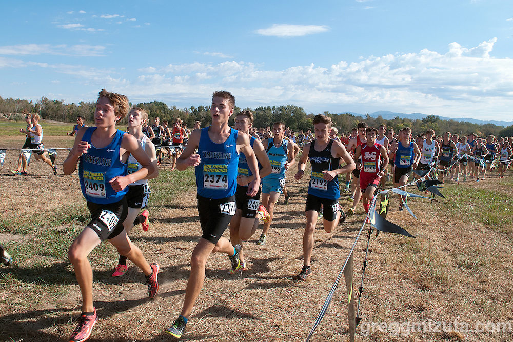 Timberline (Boise) sophomore Josh Verschoor and senior Tyler Farnsworth early in the Bob Firman Invitational Division I race, September 26, 2015, Eagle Island State Park, Boise, Idaho.<br /> <br /> Verschoor, finished twenty-third (16:55.11) and Farnsworth twenty-fourth (16:59.73).