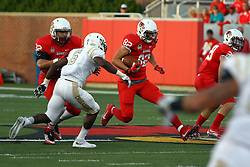 03 September 2016:  Anthony Warrum exploits a fast closing hole. NCAA FCS Football game between Valparaiso Crusaders and Illinois State Redbirds at Hancock Stadium in Normal IL (Photo by Alan Look)