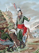 Francois Severin Marceau-Desgraviers (1769-1896) French revolutionary soldier; republican army of La Vendee; fought at Fleurus, Mainz, Mannheim and Coblenz. Mortally wounded Altenkirchen. Chromolithograph after painting.