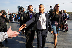 © Licensed to London News Pictures. 09/05/2016. London, UK. Newly elected Mayor of London SADIQ KHAN is greeted by his supporters on his arrival at City Hall in London on his first day at work on Monday, 9 May 2016. Photo credit: Tolga Akmen/LNP