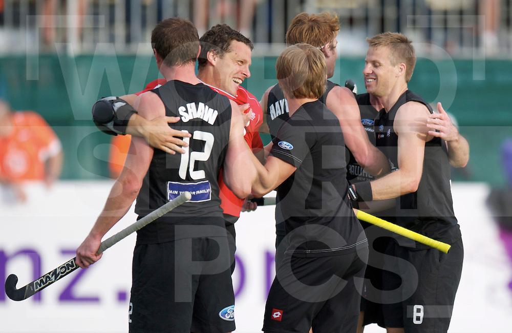 AUCKLAND - Champions Trophy men.Netherlands v New Zealand.foto: New Zealand celebration after the draw 3-3.FFU Press Agency  COPYRIGHT FRANK UIJLENBROEK..