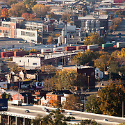 Kansas City's West Side area with a train moving through. Taken from Power and Light Building.