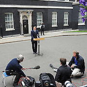 © licensed to London News Pictures. LONDON, UK.  09/08/11. British Prime Minister David Cameron makes a statement in Downing Street about the civil unrest across the UK. Mandatory Credit Stephen Simpson/LNP