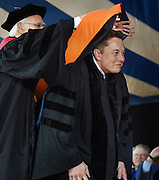 Honorary degrees were awarded at Yale University's 314th Commencement, New Haven, CT. Recipient Elon Musk, CEO of Space X and Tesla, bent to receive his hood from Corporation Marshal David Mayhew.