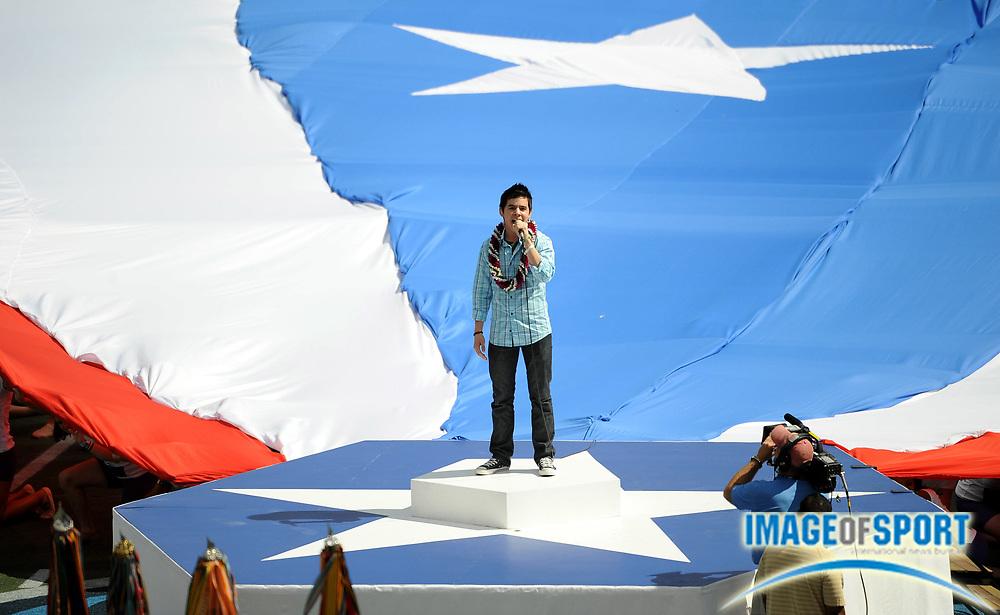 Feb 9, 2009; Honolulu, HI, USA; David Archuelta sings the national anthem before the Pro Bowl at Aloha Stadium.