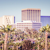 Newport Beach Skyline Retro Panorama Photo of office buildings in Orange County Southern California. Panoramic photo ratio is 1:3.