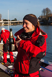 Marlow, Bucks, January 24th 2015. Olympic and Paralympic rowing medallists including Naomi Riches, Heather Stanning and Katherine Grainger join members of a Coxless Crew at Marlow at their boat naming ceremony. The Coxless Crew is a team of four women who have given up their jobs to undertake an epic six-month 8,446 mile adventure rowing their boat Doris across the Pacific ocean from Sanfrancisco to Cairns in Australia, to raise funds for charities Walking With The Wounded and Breast Cancer Care. PICTURED: Coxless Crew's Emma Mitchell gives a thumbs-up after the naming ceremony for their boat Doris.
