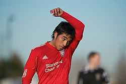 KIRKBY, ENGLAND - Tuesday, November 16, 2010: Liverpool's Gerardo Bruna in action against Blackpool during the FA Premiership Reserves League (Northern Division) match at the Kirkby Academy. (Pic by: David Rawcliffe/Propaganda)