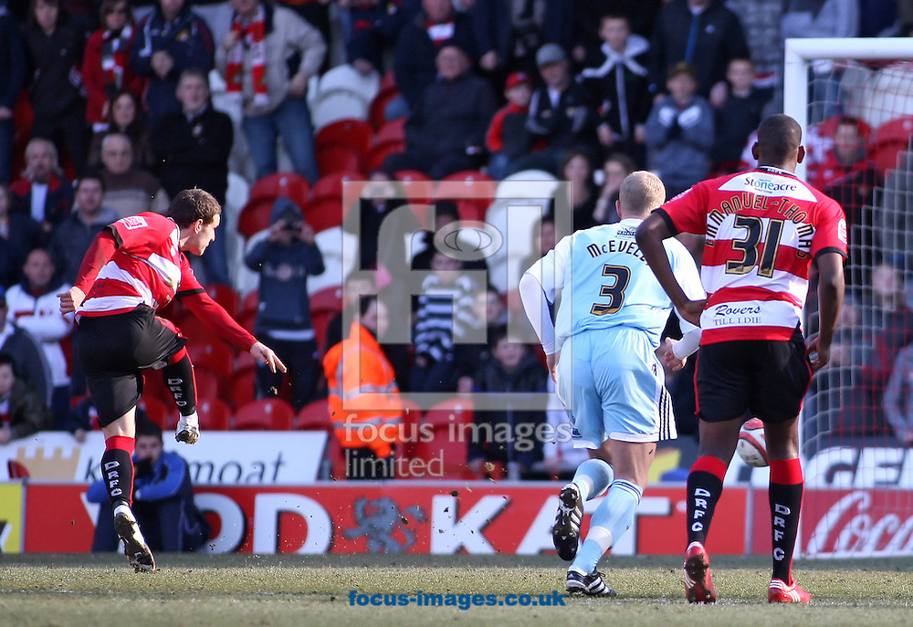 Doncaster - Saturday March 13th 2010: Billy Sharp of Doncaster Rovers Scores the opening goal from the spot during the Coca Cola Championship Match between Doncaster Rovers & Derby County at The Keepmoat Stadium Doncaster. (Pic by Steven Price/Focus Images)..