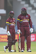 Chris Gayle  and Evin Lewis of West Indies and y of ICC World XI during the International Twenty/20 match at Lord's, London<br /> Picture by Simon Dael/Focus Images Ltd 07866 555979<br /> 31/05/2018