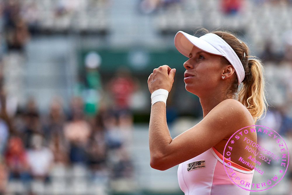 Paris, France - 2017 June 04: Magda Linette from Poland looks forward during her women's single match third round during tennis Grand Slam tournament The French Open 2017 (also called Roland Garros) at Stade Roland Garros on June 04, 2017 in Paris, France.<br /> <br /> Mandatory credit:<br /> Photo by &copy; Adam Nurkiewicz<br /> <br /> Adam Nurkiewicz declares that he has no rights to the image of people at the photographs of his authorship.<br /> <br /> Picture also available in RAW (NEF) or TIFF format on special request.<br /> <br /> Any editorial, commercial or promotional use requires written permission from the author of image.