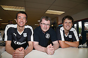 18 year old Dillon Foster (right) from Kirkton was first in line to get the new Dundee kit, queuing outside Dundee Direct from 5am he's pictures with Dundee player Cammy Kerr and club shop manager Alan Christison- Dundee FC kit 2015-16 launch<br /> <br />  - &copy; David Young - www.davidyoungphoto.co.uk - email: davidyoungphoto@gmail.com