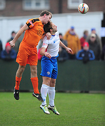 HARTLEY WINTNEY LIAM EAGLE HOLDS OF RUSHDENS TOM LORRAINE, AFC Rushden & Diamonds v Hartley Wintney FC Hayden Road, Evo Stik League South East Saturday 2nd December 2017 Score 2-0, Rushden go top of League, Photo:Mike Capps