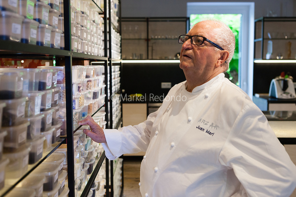 Juan Mari Arzak at work at Arzak restaurant, in San Sebastian, Spain.
