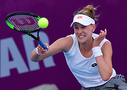 DOHA, Feb. 13, 2019  Alison Riske of the United States hits a return during the women's singles first round match between Alison Riske of the United States and Polona Hercog of Slovenia at the 2019 WTA Qatar Open in Doha, Qatar, Feb. 12, 2019. Polona Hercog lost 0-2. (Credit Image: © Nikku/Xinhua via ZUMA Wire)